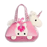 Aurora World 32795 Aurora Fancy-Pal Peek-A-Boo Pet Carrier, Pink and White, 8in, Unicorn Gift