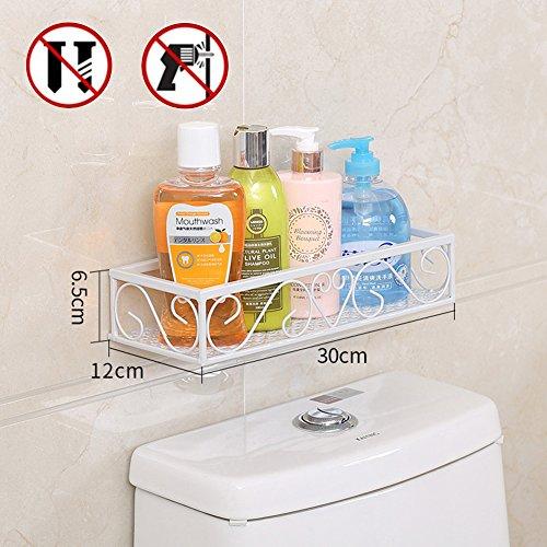Kein Bohren Badregal Küchenregal, Stahl Sticky Dusche Ablage für Shampoo, weiß, 30*12*6.5CM