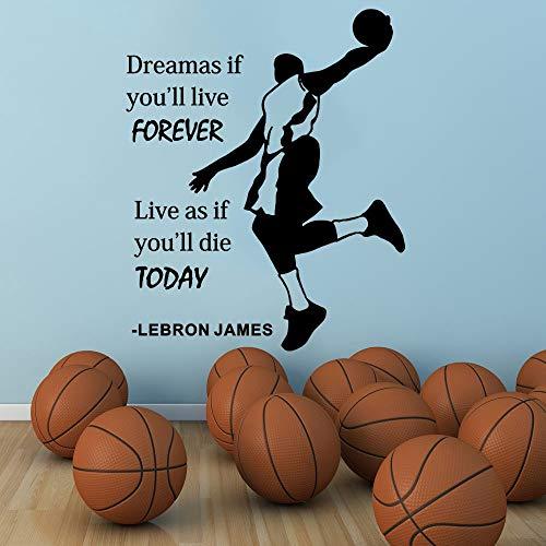 Champion Lebron James Quots Sagen Wand Vinyl Aufkleber Home Decor Wandaufkleber Zitat Satz Basketball Abnehmbare Wandbild 57x69 cm