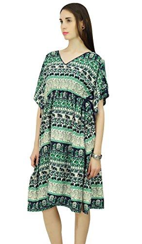 Phagun Elefant mit Tribal Kaftan Polyester Kaftan lange Maxi-Kleid Nachtwäsche Beige und Grün