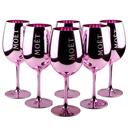 6X Moet & Chandon Imperial Gläser Echtglas Pink Rose Rosa Champagner Glas Limited Ibiza