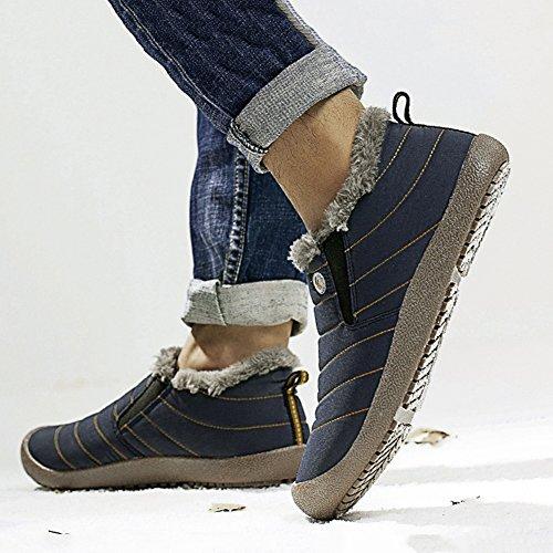 QIANGDA Uomini Scarpe Di Cotone Inverno Termico All'aperto Impermeabile Morbido Pisolino, 5 Colori Opzionale ( Colore : Nero , dimensioni : EU39 = UK6 ) Dark blue1