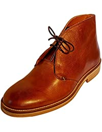 Chukka Boots for Men in Brown Leather, Booties Handcrafted Genuine Leather and Microfiber lining