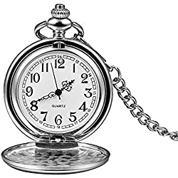XIGEYA Sliver Smooth Stainless Steel Case Arabic Numbers Modern Pocket Watch