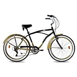 KCP 26' BEACH CRUISER COMFORT BIKE Mens EASY RIDER 2.0 6S SHIMANO black gold (sg) RETRO LOOK - (26 Zoll)