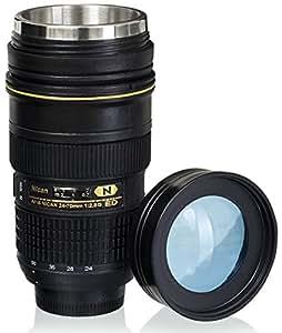 VENKON - Termo Tazza con Coperchio Trasparente a Disegno di Obiettivo Fotocamera Lente per Bevande Calde e Fredde - 300 ml - Nero