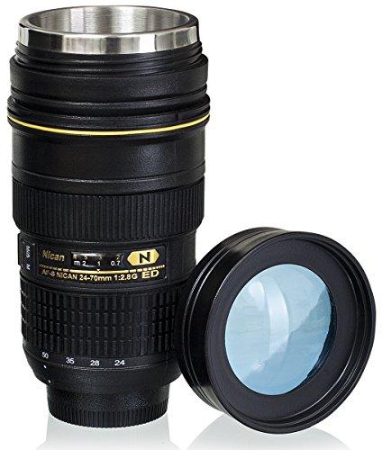 """Tazza termica coperchio trasparente - Nero 0,4l Design """"Macchina Fotografica"""" - Thermos gadget da viaggio - Grinscard"""
