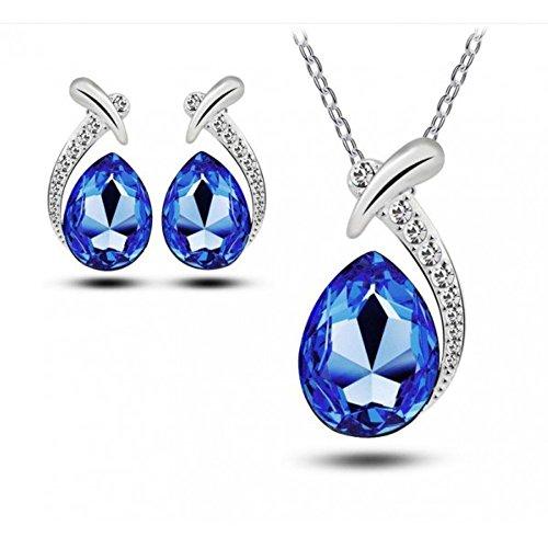 Parure goutte et cristaux swarovski elements plaqué or blanc Bleu roi
