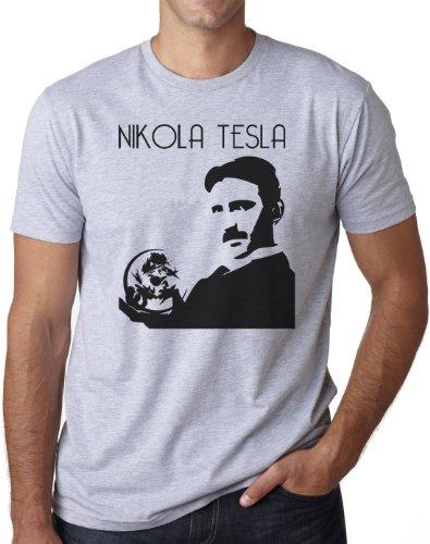 OM3 - NIKOLA TESLA - T-Shirt Physiker Erfinder Strom Nerd Elektrizität Energie Teslatron Geek EMO, S - 5XL Grau Meliert