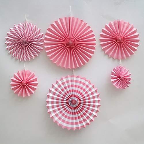 yamysalad 6 ventagli di Carta a Forma di Fiore Tridimensionale, Decorazione Fai da Te, Decorazione da Parete, Decorazione da Appendere, Ornamento colorato per Origami, Rosa