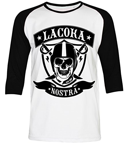 PALLAS Men's La Coka Nostra T Shirt -PA178 WhiteBlack 3/4Sleeve