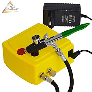 Profi AirBrush Set Carry I - Airbrush Kompressor Set für Airbrush-Farben Airbrush Pistole Single Action 207D mit 0,3 mm Nadel / Düse, optimal Airbrush-Kit für alle Anfänger zum Einführungspreis!