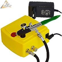 KIT AIRBRUSH COMPRESOR - KIT AERÓGRAFO COMPRESOR Carry I - SET Aerógrafo compresor con PISTOLA AERÓGRAFO - PISTOLA AIRBRUSH UNIVERSAL Single Action Gun 207D con BOQUILLA/AGO de 0,2m para colores aerógrafo - colores airbrush / Kit aerógrafia óptimo para todos los trabajos
