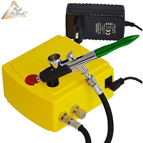 KIT AIRBRUSH COMPRESOR - KIT AERÓGRAFO COMPRESOR Carry I - SET Aerógrafo compresor con PISTOLA AERÓGRAFO - PISTOLA AIRBRUSH UNIVERSAL Single Action Gun 207D con BOQUILLA/AGO de 0,2m para colores aerógrafo - colores airbrush / Kit aerógrafia óptimo para todos los