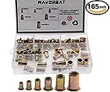 Waykino 165 Stück Blindnietmuttern Nietmutter Einnietmuttern Sortiment Set Nutsert M3 M4 M5 M6 M8 M10