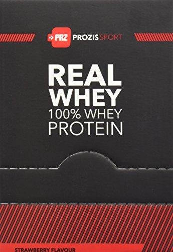 Prozis sport real whey 100% proteine con aroma di fragola, 10 bustine, 25 g