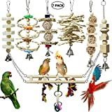 onebarleycorn - 7 Pcs Bird Toys for Parrots,Bird Parrot Swing Chewing Natural Wood Hanging Bell Bird Cage Toys Suitable for Small Parakeets, Cockatiels, Conures, Finches,Budgie,Macaws,Love Birds