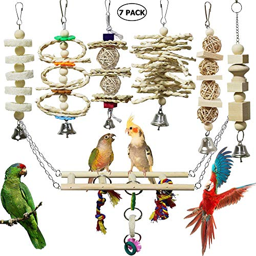 onebarleycorn - 7 Stück Vogel Papagei Glöckchen Swing Spielzeug, Vogelspielzeug Kauspielzeug aus Naturholz Hängematte für Kakadus, Sittiche, Käfigspielzeug, Nymphensittiche, Conures, Love Birds