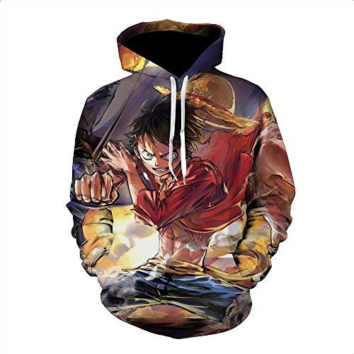 GuiSoHn Sudadera con Capucha 3D Otoño Invierno Imprimir Suéter Sombrero De Paja  Luffy One Piece Colorful a522f17345e