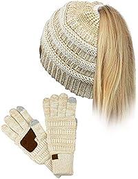 b01efff9aa3 C C BeanieTail Bonnet d hiver à gros fils tricotés pour queue de cheval avec  gants