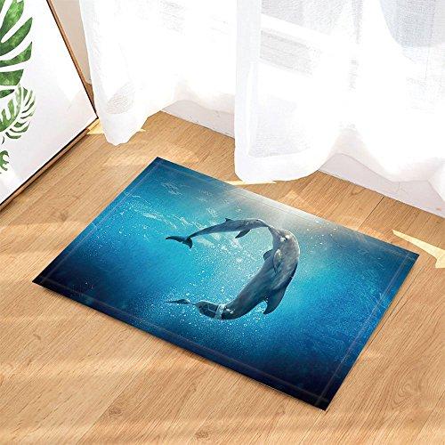 gohebe Ocean Bad Teppich Delfine Intelligente Grace Creature Echthaar Freund rutschfeste Fußmatte Boden Eingänge Innen vorne Fußmatte Kinder Badematte 39,9x 59,9cm Badezimmer - Ocean Fleece-stoff