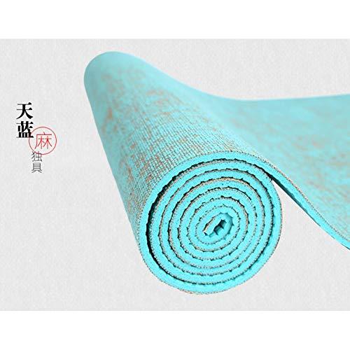Baibian Natürliche Jute Yoga-Matte Pad 183 * 61 cm * 5 Mm Eco Hybrid Leinen Yoga-Matte Kit für Yoga Pilates & Fitness-Übung,Blau -