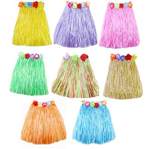 JZK 8 Mehrfarbig Hawaii - Rock Hawaii Party Kostüm Set Hula Rock, Mädchen Frauen Zubehör für Hula Luau ()