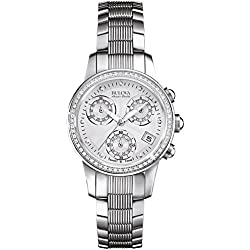 Bulova Accu Swiss Masella Women's Quartz Watch with Mother of Pearl Dial Chronograph Display and Silver Stainless Steel Bracelet 63R141