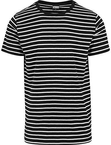 Urban Classics TB1571 Herren T-Shirt Striped Tee Mehrfarbig (blk/wht 50)