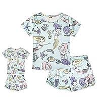 ModaIOO Matching Dolls & Girls Pajamas Dinosaur Mermaid Unicorn Pyjama Kids Sleepwear Set