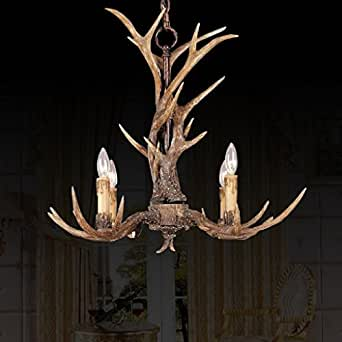 effortinc vintage chandelier corne de cerf en r sine 4 lumi res lustres campagne bois de. Black Bedroom Furniture Sets. Home Design Ideas