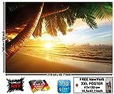 Papier peint de coucher du soleil au bord de la mer peinture murale de décoration de plage Caribéenne soleil de plage nature d'île pour les voyages de vacances   murale photo GREAT ART 210x140 cm
