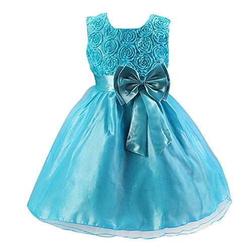 Free Fisher Baby/Kinder Mädchen 'Blumen'-Kleid Festlich, Blau, 18-24 Monate( Herstellergröße: L)