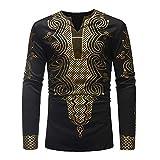 Hemd Herren Gold Gedruckt T-Shirt Langarm Ethnischen Stil Casual Bluse Herbst Winter Golden Mysterious Pattern Dashiki Tops,Schwarz 6,M