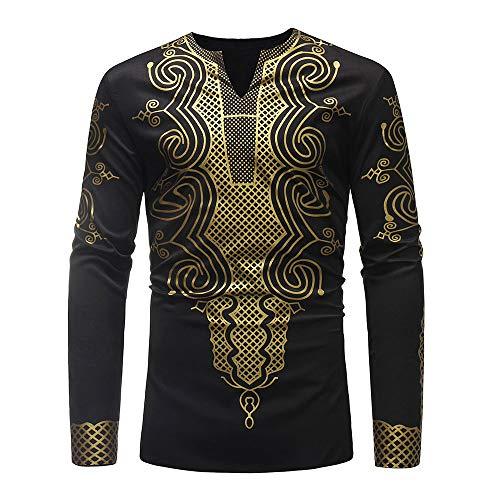 ❤️ Camisa para Hombre de impresión, otoño Invierno Moda Blusa Dashiki de Manga Larga con Estampado Africano de Lujo Top Blusa Absolute