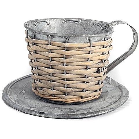 In metallo zincato e vimini Tazza e piattino Erbe Bulbi 11x (Tin Bucket)