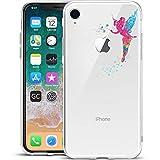 GIRLSCASES® | Hülle kompatibel für iPhone XR | Im Fee Motiv Muster | in bunt | Fashion Case transparente Schutzhülle aus Silikon