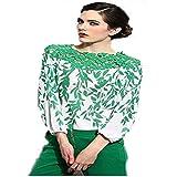 قميص نسائي بأكمام طويلة من الدانتيل مربوط من الشيفون للنساء Sv00161\8 XL