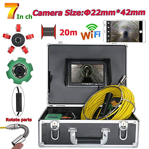 Jackeylove 7inch 22mm Rohrleitungsinspektionsvideokamera WiFi Wireless DVR, 20M Abflussrohr Kanalinspektion 1000 TVL Kamerasystem mit 6W LED-Leuchten -