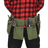 QEES, cintura porta attrezzi in tela da uomo, grembiule per attrezzi da giardino, tasca regolabile con cintura per uomini, per casa, giardino, camper, pulizia, lunghezza vita fino a 124,5 cm