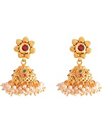 Ganapathy Gems 1Gram Gold Plated Jhumki With Pearl Drops (8562) 8562