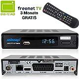 Ankaro DVB-T2 Receiver DTR 50 inkl. 3 Monate GRATIS Freenet TV digitaler H.265 Empfänger in schwarz