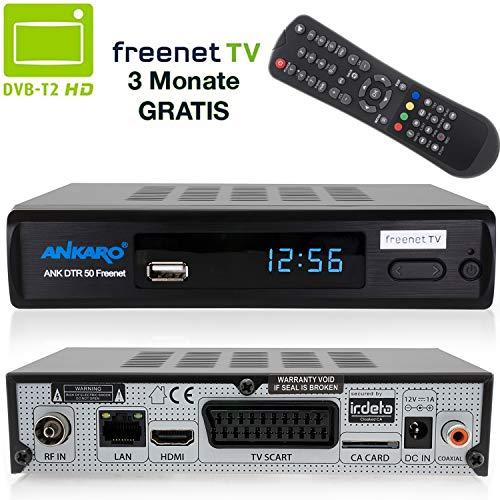 Ankaro DVB-T2 Receiver DTR 50 inkl. 3 Monate GRATIS Freenet TV digitaler H.265 Empfänger in schwarz Mpeg4 Stand