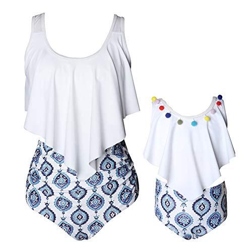 Xinvivion Mutter Tochter Floral bedruckten passenden Bikini - Zwei Stücke Retro Badeanzug und Stirnband Badeanzug Bademode Familie Sommer Beachwear