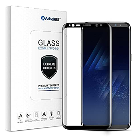 Protection écran Verre Trempé Galaxy S8, Arbalest® Ultra-tactile Sensitif et Clair 3D Curved Edges Full Coverage Screen Protector for Samsung S8