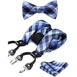 HISDERN Verifier Rayure 6 Clips Jarretelle & Noeud papillon et Carre de poche Set Forme en Y Ajustable Bretelles Bleu/gris