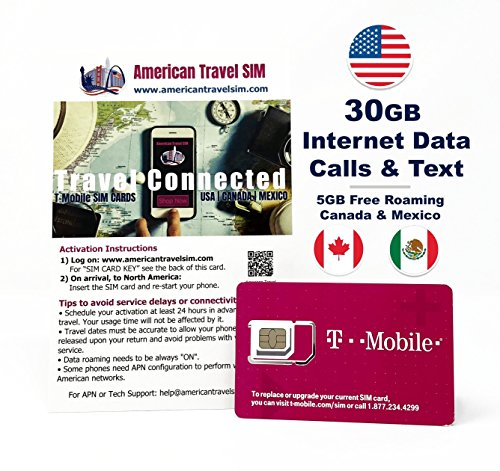 Prepaid-SIM-Karte - 30GB Internet-Daten USA, 5GB Roaming Kanada und Mexiko - Unbegrenzte Anrufe und Texte (30 Tage) - Micro-sim-karte Kanada