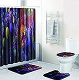 SLGJYY Badezimmer Matte Kombination Vierteiliger Anzug Bad WC Teppich Duschraum Matte Matte Europäischer und Amerikanischer Stil