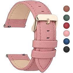 Fullmosa 14mm,16mm,18mm, 20mm, 22mm, 24mm Bracelet de Montre en Cuir véritable, Cross Montre Bracelet Homme/Femme à Dégagement Rapide,14mm Rose