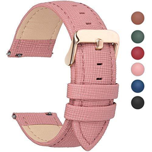 Fullmosa Uhrenarmband, Cross Serie Echtes Lederarmband Ersatzband Smart Watch Armband mit Edelstahl Metall Schließe 14mm Pink
